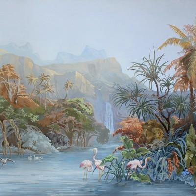 Landscape with flamingo