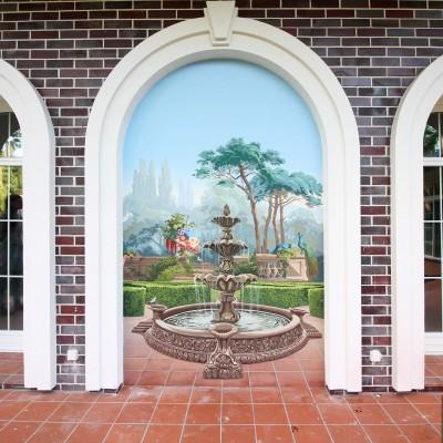 Пейзаж с фонтаном